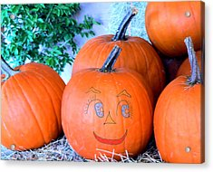 Pumpkin Smile Acrylic Print by Rosalie Scanlon