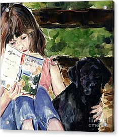 Pup And Paperback Acrylic Print by Molly Poole