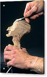 Puppet Being Carved From Wood Acrylic Print by Bernard Jaubert