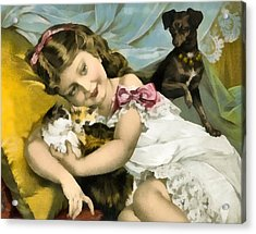 Puppies Kittens And Baby Girl Acrylic Print by Vintage Trading Cards