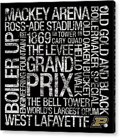Purdue College Colors Subway Art Acrylic Print by Replay Photos