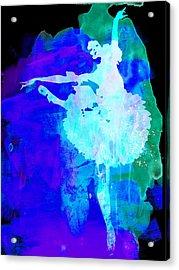 Purple Ballerina Watercolor Acrylic Print by Naxart Studio