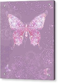 Purple Butterfly Floral Acrylic Print by Alixandra Mullins