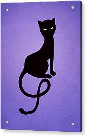 Purple Gracious Evil Black Cat Acrylic Print by Boriana Giormova