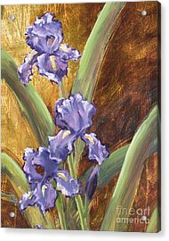 Purple Iris With Gold Leaf By Vic Mastis Acrylic Print by Vic  Mastis