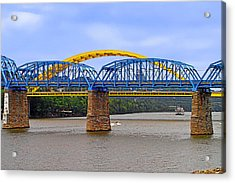 Purple People Bridge And Big Mac Bridge - Ohio River Cincinnati Acrylic Print by Christine Till
