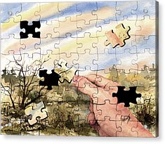 Puzzled Acrylic Print by Sam Sidders