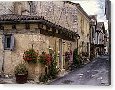 Quaint French Street In Issigeac Acrylic Print by Georgia Fowler