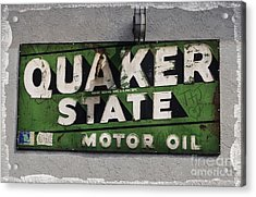 Quaker State Motor Oil Acrylic Print by Janice Rae Pariza