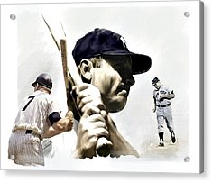 Quality Of Greatness Mickey Mantle Acrylic Print by Iconic Images Art Gallery David Pucciarelli