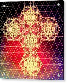 Quantum Cross Hand Drawn Acrylic Print by Jason Padgett
