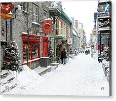 Quebec City In Winter Acrylic Print by Thomas R Fletcher