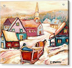 Quebec City Street Scene Caleche Ride In The Village Acrylic Print by Carole Spandau