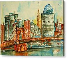 Queen City Skyline Cincinnati Oh Acrylic Print by Elaine Duras