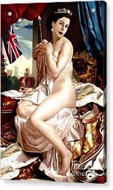 Queen Elizabeth II Nude Portrait Acrylic Print by Karine Percheron-Daniels