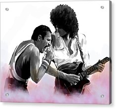 Queen II  Freddie Mercury And Brian May Acrylic Print by Iconic Images Art Gallery David Pucciarelli
