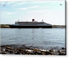 Queen Mary 2 Halifax 2004 Acrylic Print by George Cousins