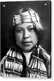 Quinault Indian Girl Circa 1913 Acrylic Print by Aged Pixel