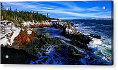 Quoddy Coast With Snow Acrylic Print by Bill Caldwell -        ABeautifulSky Photography