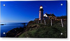 Quoddy Head By Moonlight Panorama Acrylic Print by Bill Caldwell -        ABeautifulSky Photography