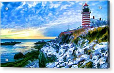 Quoddy Head Lighthouse In Winter 3 Acrylic Print by Bill Caldwell -        ABeautifulSky Photography
