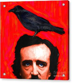 Quoth The Raven Nevermore - Edgar Allan Poe - Painterly - Square Acrylic Print by Wingsdomain Art and Photography