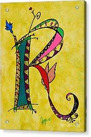 'r' Monogram Acrylic Print by Joyce Auteri