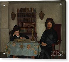 Rabbi With Young Student Acrylic Print by Celestial Images