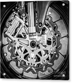 Racing Bike Wheel With Brembo Brakes And Ohlins Shock Absorbers - Square - Black And White Acrylic Print by Ian Monk