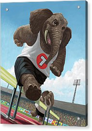 Racing Running Elephants In Athletic Stadium Acrylic Print by Martin Davey