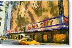 Radio City Music Hall And Taxis Acrylic Print by Dan Sproul