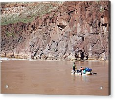 Rafting The Colorado Acrylic Print by Jim West