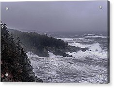 Raging Fury At Quoddy Acrylic Print by Marty Saccone