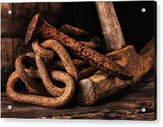 Railroad Spike Still Life Acrylic Print by Tom Mc Nemar