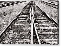 Railroad Tracks Acrylic Print by Olivier Le Queinec