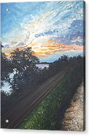 Rails Along The River Acrylic Print by Monica Veraguth