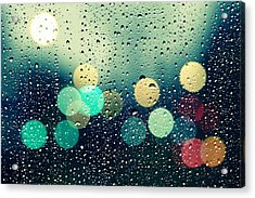 Rain And The City Acrylic Print by Beata  Czyzowska Young