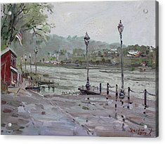 Rain In Lewiston Waterfront Acrylic Print by Ylli Haruni