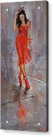 Rain In Manhattan Acrylic Print by Ylli Haruni