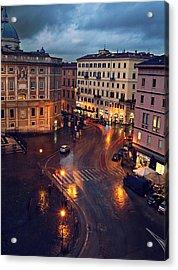 Rain Night In Rome Acrylic Print by Patrick Horgan
