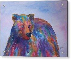 Rainbow Bear Acrylic Print by Ellen Levinson