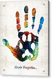 Rainbow Bridge Art - Never Forgotten - By Sharon Cummings Acrylic Print by Sharon Cummings