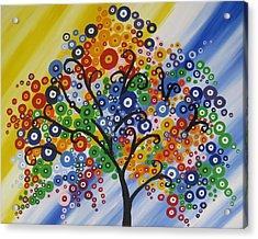 Rainbow Bubble Tree Acrylic Print by Cathy Jacobs