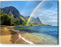 Rainbow Over Haena Beach Acrylic Print by M Swiet Productions