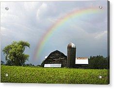 Rainbow Over Old Country Barn Acrylic Print by Christina Rollo