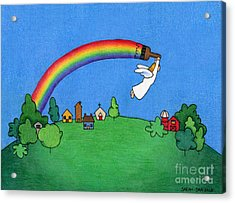 Rainbow Painter Acrylic Print by Sarah Batalka
