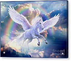 Rainbow Pegasus Acrylic Print by Jan Patrik Krasny