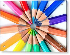 Rainbow Pencils Acrylic Print by Delphimages Photo Creations