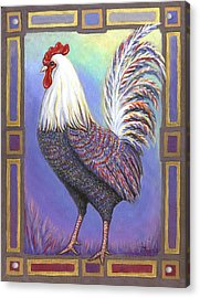 Rainbow Rooster Acrylic Print by Linda Mears