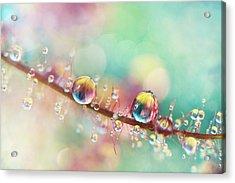 Rainbow Smoke Drops Acrylic Print by Sharon Johnstone